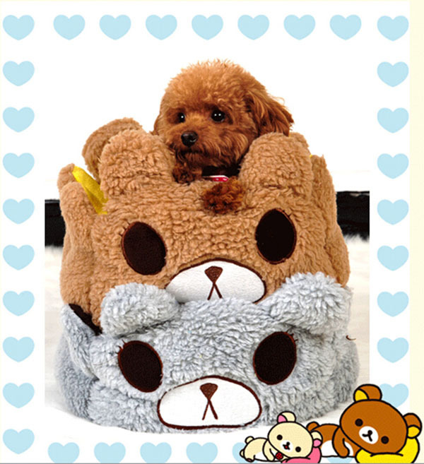 Hot sale pet dog cat cute cartoon bed doggy warm soft washable house puppy fashion nest dogs cats kennels pets products S M L(China (Mainland))