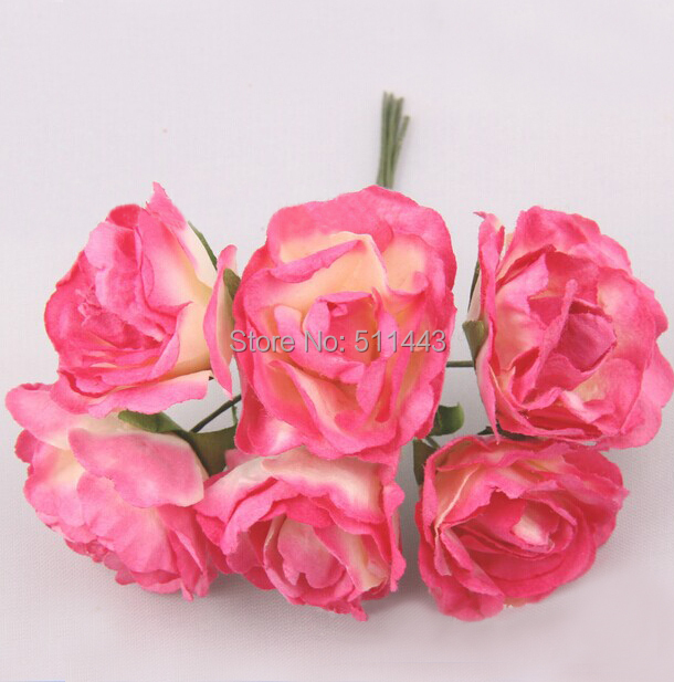 Free shipping 144pcs 3cm New Handmade Scrapbooking Paper Flowers Artificial Mulberry Paper Peony Bouquet For Wedding Decoration(China (Mainland))