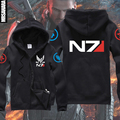 NEW Mass Effect 3 N7 Paragon inspired man s gamer Zip Up Hoodie game team zipper