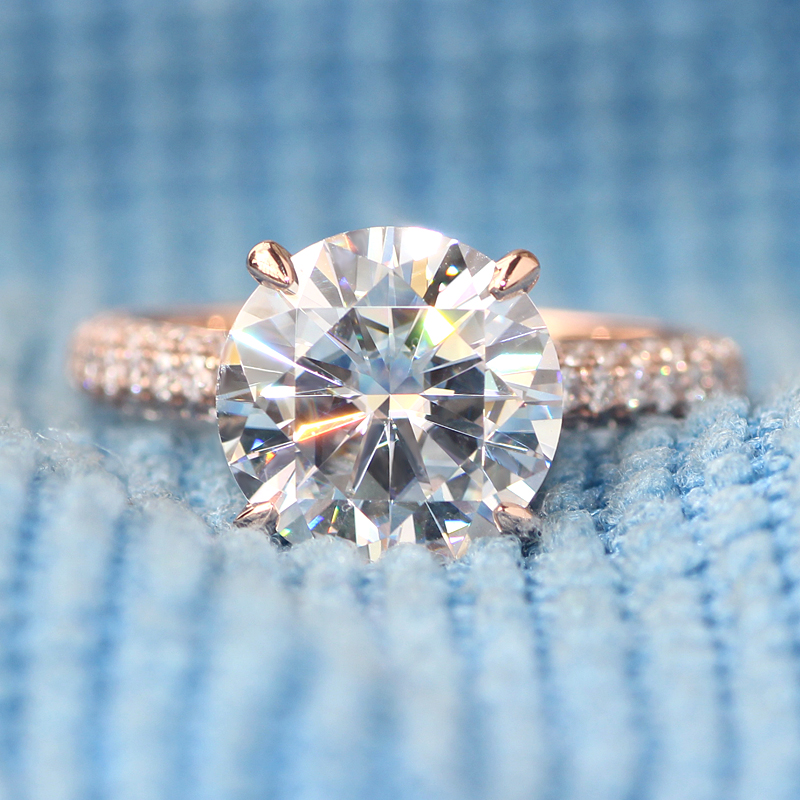 New Forever One DEF Color 3 Carat CT Lab Grown Moissanite Wedding Ring With Real Diamond Accents Solid 14K 585 Rose Gold<br><br>Aliexpress