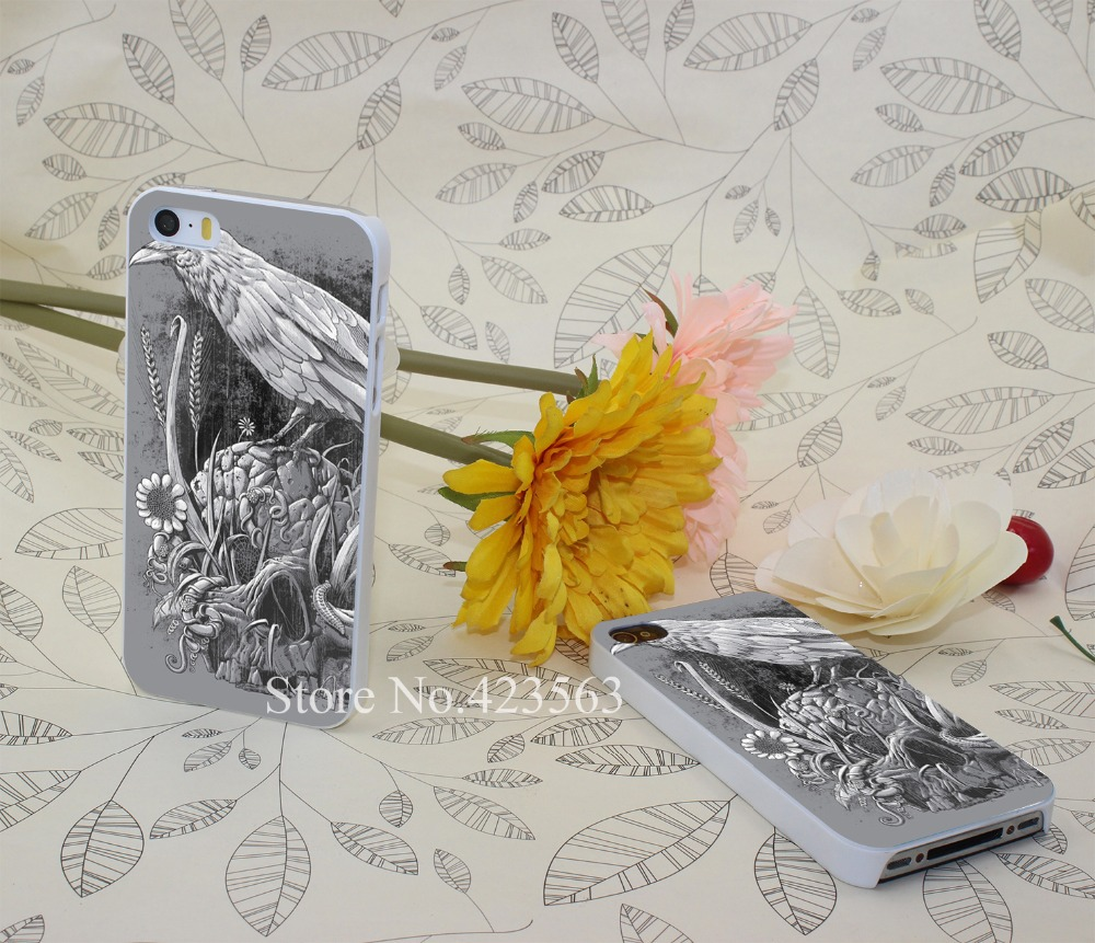 white raven Hard White Skin Case Cover for iPhone 4 4s 5 5s 5g(China (Mainland))