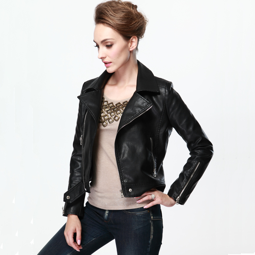 Images of Women Black Leather Jacket - Reikian