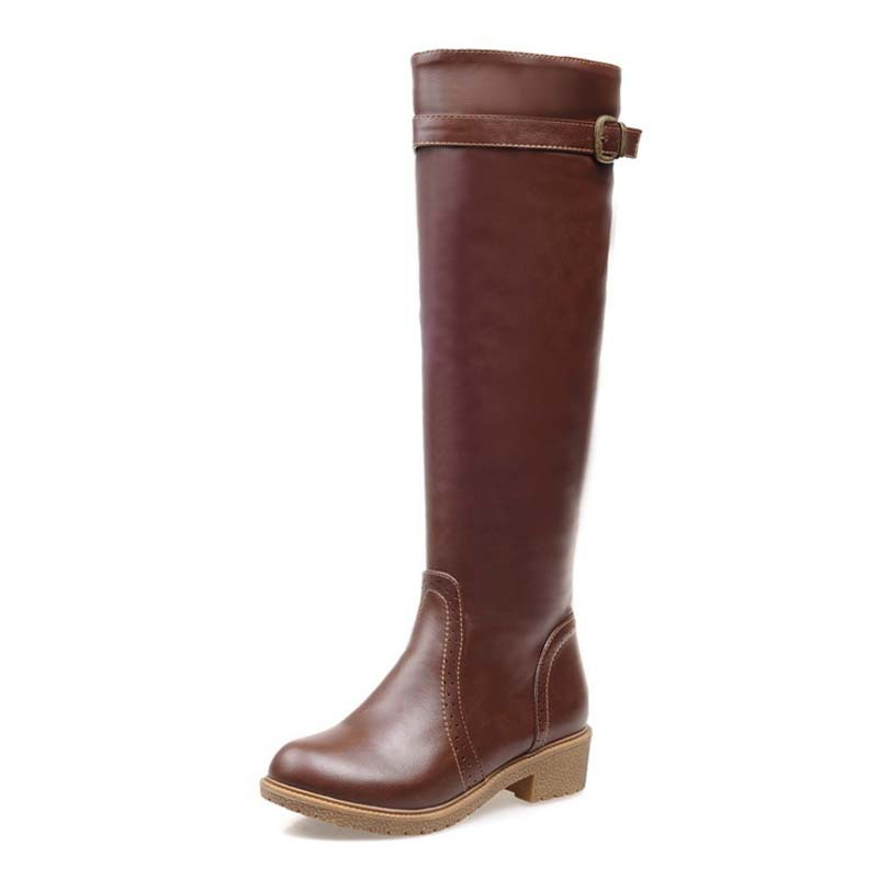 Motorcycle Boots For Women Round Toe Fashion Buckle Knee-High Boots New PU Soft Leather warm winter  Knight boots Med<br><br>Aliexpress