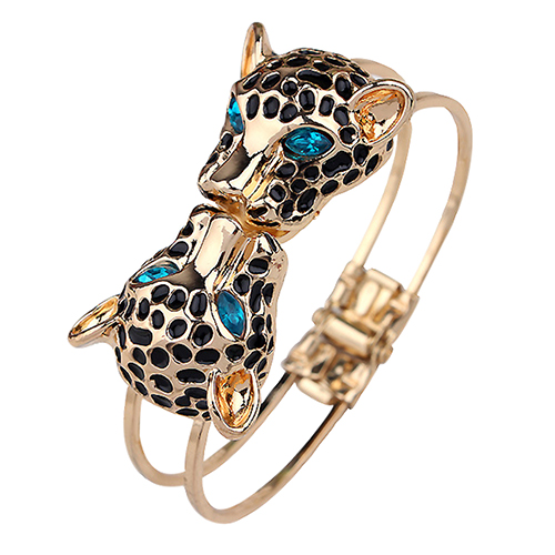 Bluelans New Arrived Women's Double Leopard Heads Bangle Open Hand Cuff Bracelet Jewelry Gift(China (Mainland))