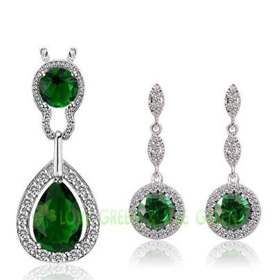 Queen Kate jewelry set brand bridal wedding 18kGP Austrian Crystal zircon tear drop pendant chain necklace