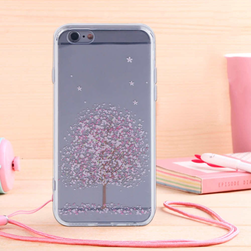 Super Thin Fashionable Charming Cherry Blossom Pattern Printed Silicone Phone Protective Case Cover For iPhone 5/5S/SE/6/6S/Plus(China (Mainland))