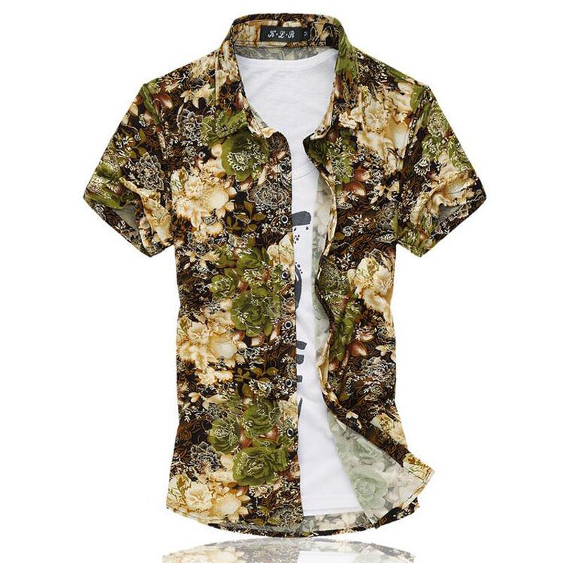 2016 Fashion Mens Short Sleeve Hawaiian Shirt Plus Size M-6XL Summer Casual Floral Beach Shirts For Men(China (Mainland))