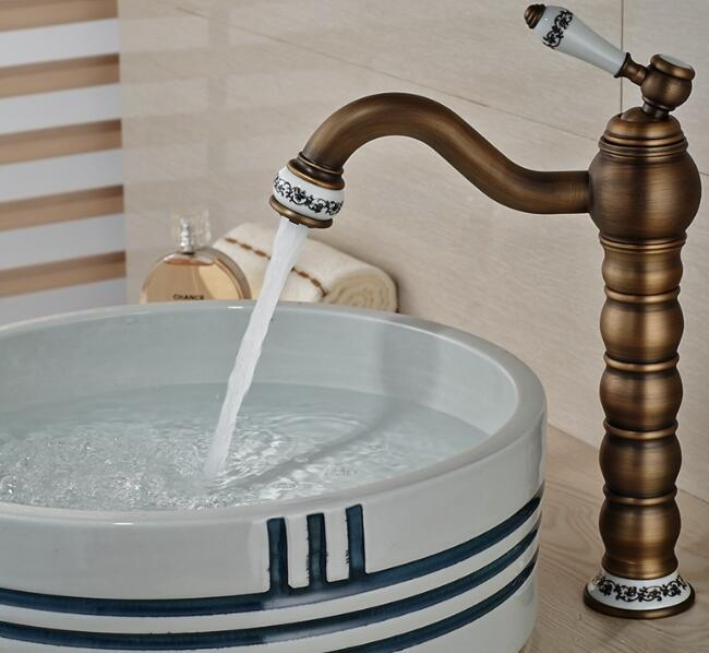 Фотография Tall Faucet Retro Style Bathroom Sink Basin Faucets hot and cold water taps Antique Brass Single Ceramics Handle mixer tap