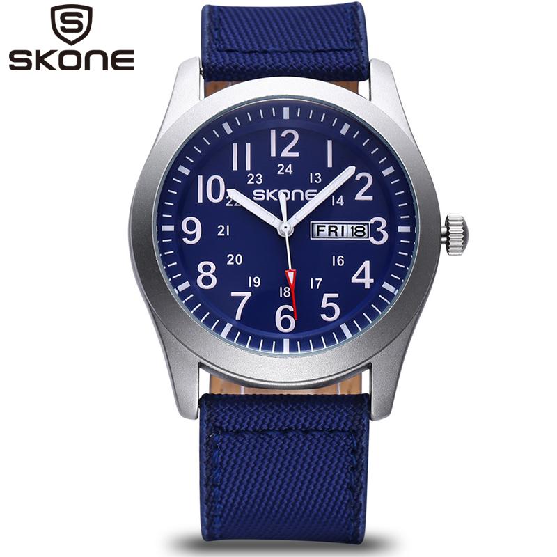 SKONE Male Classic Canvas PU Strap Watches Men Date Waterproof Casual Army Military Watch Analog Quartz Wristwatches Boys 2016<br><br>Aliexpress