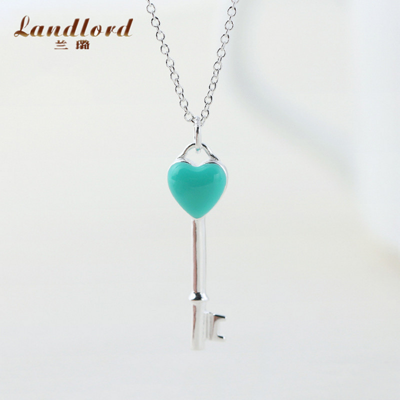 European Style Fashion Heart Shape Key Necklace 925 Sterling Silver Pendant Necklace Beautiful Enamel Necklace For Women CN0044(China (Mainland))