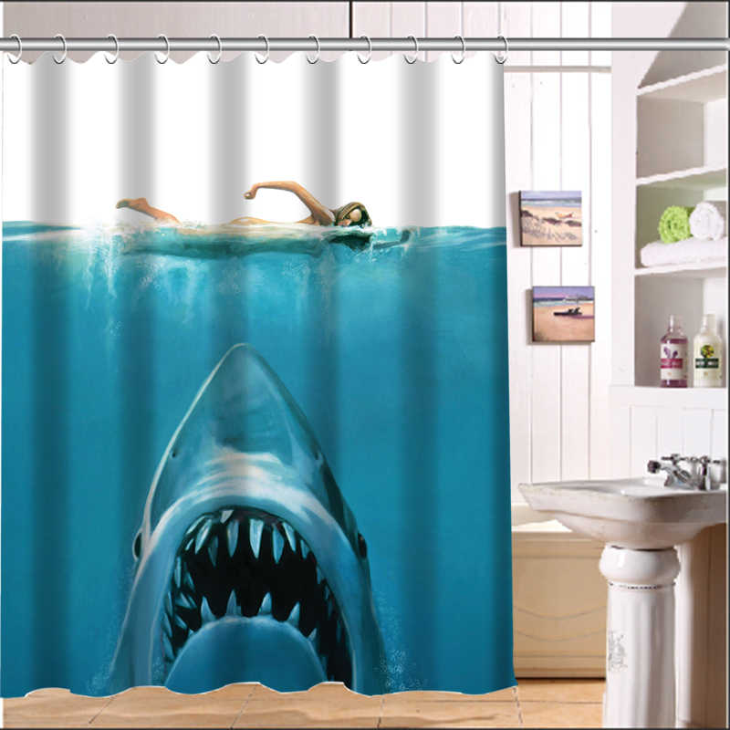 new shark custom shower curtain home fabric moden