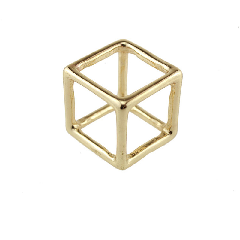 Ocean punk Fashion Gold Plated Double cube shaped rings Vintage Women Charm ring Jewelery Knuckle statement women gift(China (Mainland))