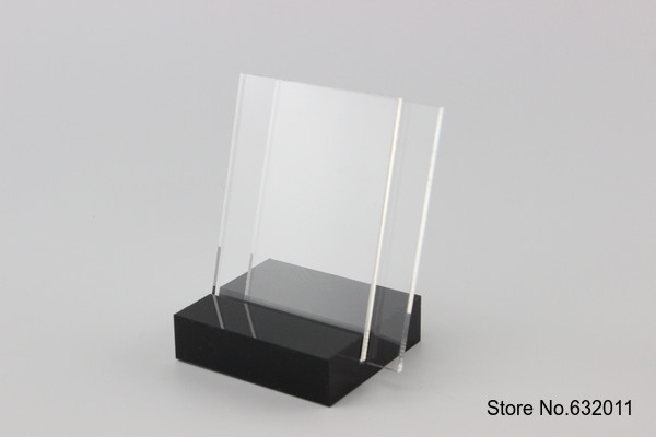 105*70MM 5 pcs L Acrylic name cards menu service sign tag label poster holder display stand desk Table Tablet Stands display(China (Mainland))