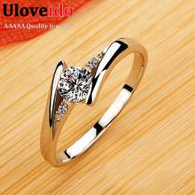 Zirkon Ruby Crystal Fashion Silver Plated CZ Diamond Jewelry Wedding Rings Rose Gold Plated Charming Jewellery Women Bijoux J045(China (Mainland))
