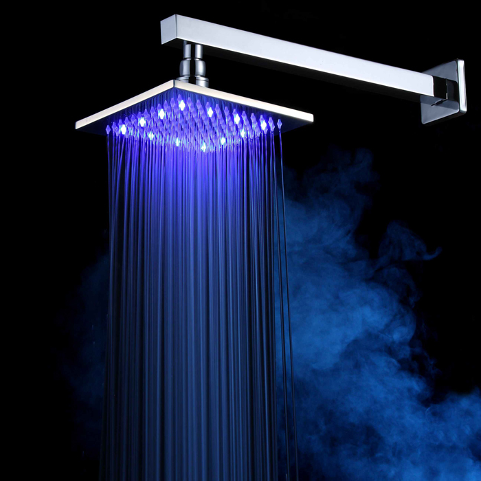 Manufacturer BAKALA 8 Inch square brass LED shower head rainfall showerhead temperature control 3 color changing LED8800(China (Mainland))