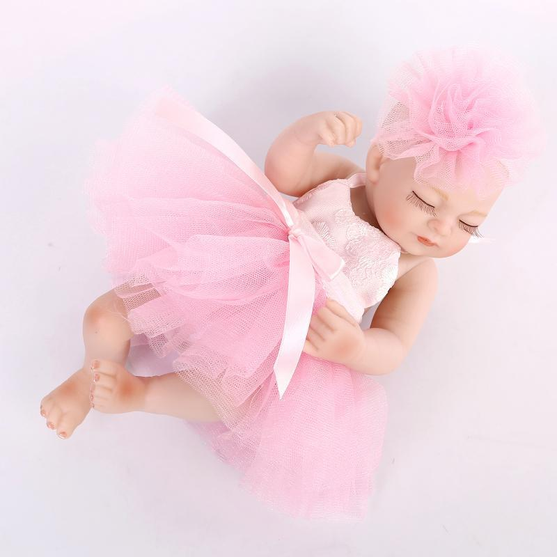 """Multi Colors 10"""" Full Body Soft Sleeping Reborn Baby Girl Doll for Girls' Holiday Gift 25cm Bathed Doll Toy Play House Doll Toys(China (Mainland))"""