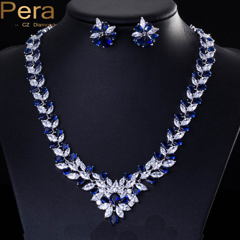 Elegant Sapphire Wedding Accessories Big Marquise Shape White Gold Plated Royal Blue CZ Diamond Jewelry Sets Brides J037
