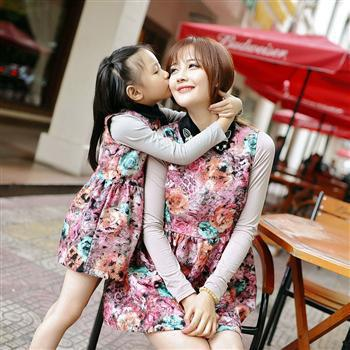 Minnie Sport Suit Clothing Wholesale Spring Mother And Daughter Loaded Parent-child Thickened Sleeveless Dress With Free To Join(China (Mainland))