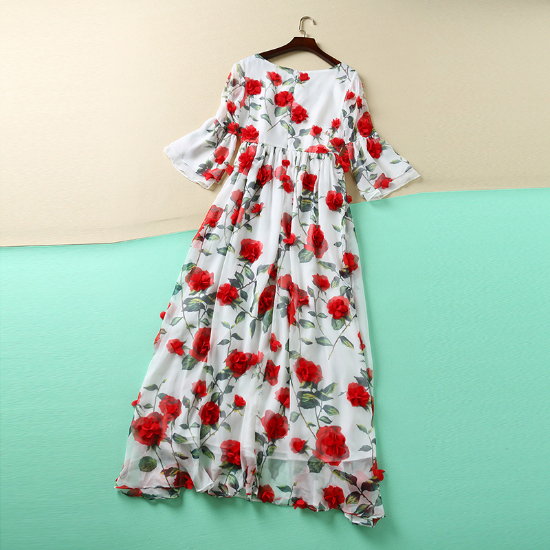 Sweet Dress New Red Flowers Printed Women 2016 Summer Short Flare Sleeve High Quality