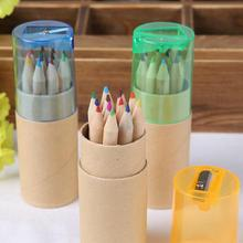 12 Colors Colored Pencils New Cute Wooden Writing Painting Pencils For Kids School Supplies 12 Pcs/lot(China (Mainland))