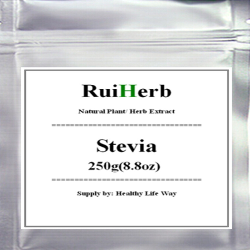 Pure Stevia Powder Extract Sweetener - Zero Calorie Sugar Substitute - No Artificial Ingredients 250gram(8.8OZ) free shipping(China (Mainland))