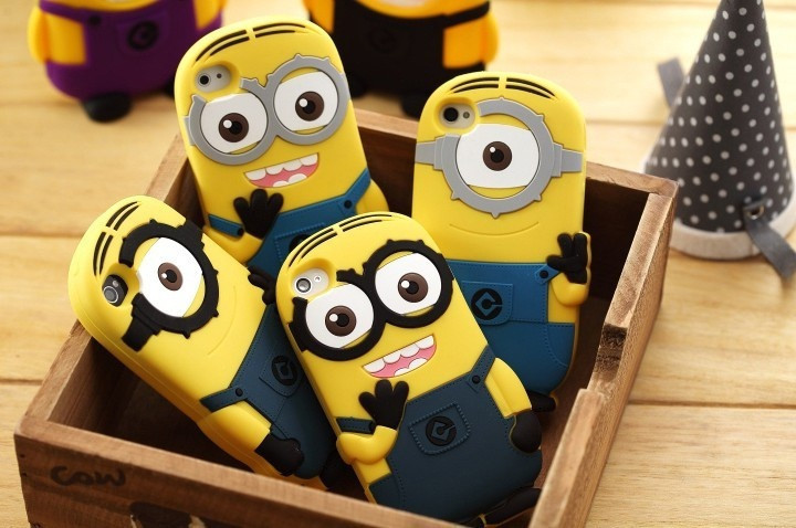 Fashional 3D cute cartoon Soft Rubber silicon Despicable Me Yellow Minion Case Cover for iphone Case for iphone 5s 5 4 4S(China (Mainland))