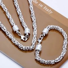 wholesale 925 silver jewelry sets, fashion men jewelry set with double chunky head link chain bracelet bangle necklace ozherelye(China (Mainland))