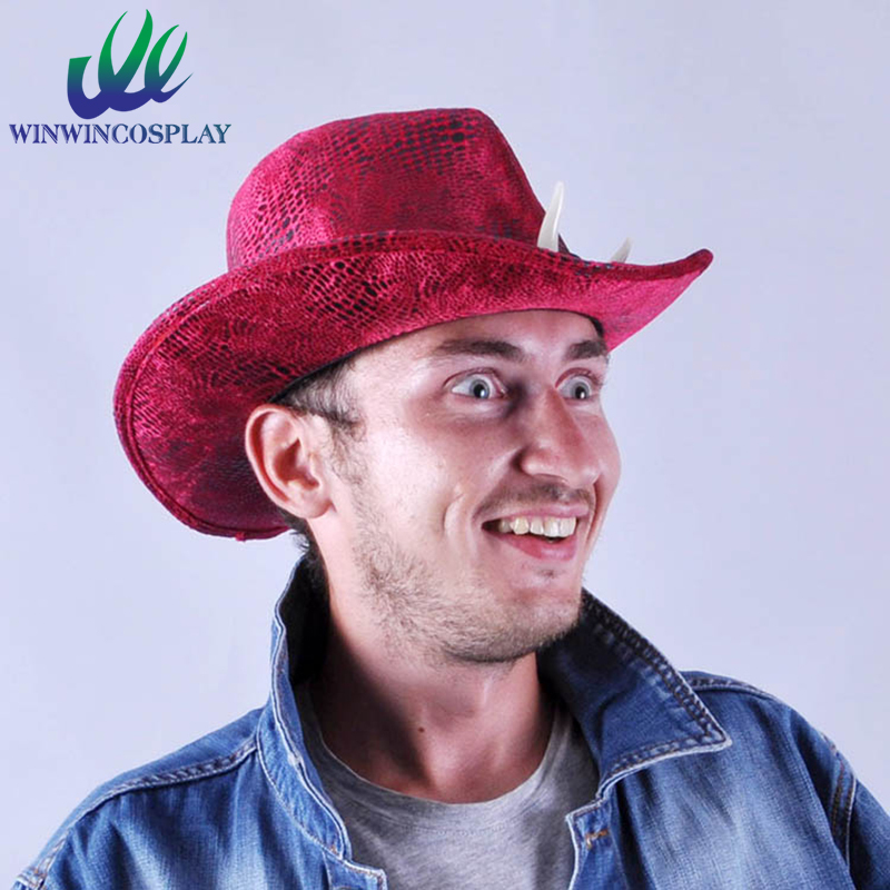 Hot Sale Jurassic Summer Hat Men and Women Cowboy Hat Chameleon Red Green Dinosaur Cosplay Hat With Ivory Free Shipping(China (Mainland))