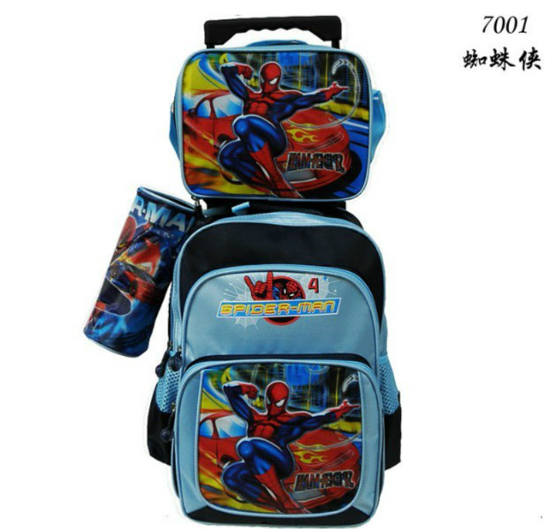 3 Bags 1 Spider Man Children Trolley School Bag KIT Boys Kids Luggage Set Travel Wheels FreeShip - World store