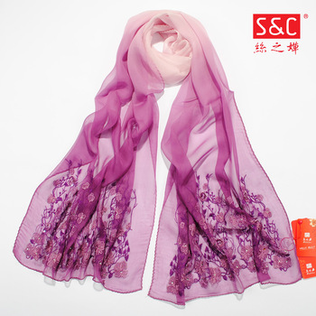 2013 Wholesale and Retail 100% Mulberry Silk Embroidered  Scarf