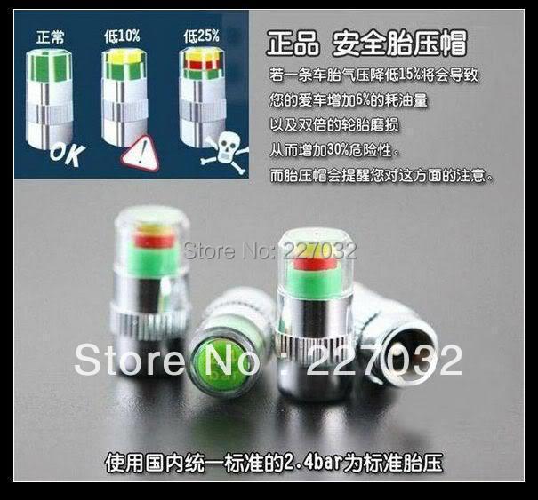 Genuine 4X New car Tire Pressure Monitor Valve Stem Cap Sensor Indicator 3 Color Eye Alert