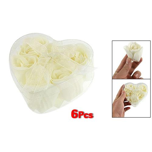 JFYB-5*New Bathing Shower Off White Rose Flower Bath Soap Petals w Heart Shaped Box(China (Mainland))