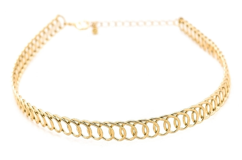 Zinc Alloy Gold Plated Wrap Choker Necklace