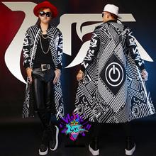 Male singer Bigbang same paragraph long section of black and white stitching mechanical switch baseball uniform jacket VSTINUS(China (Mainland))