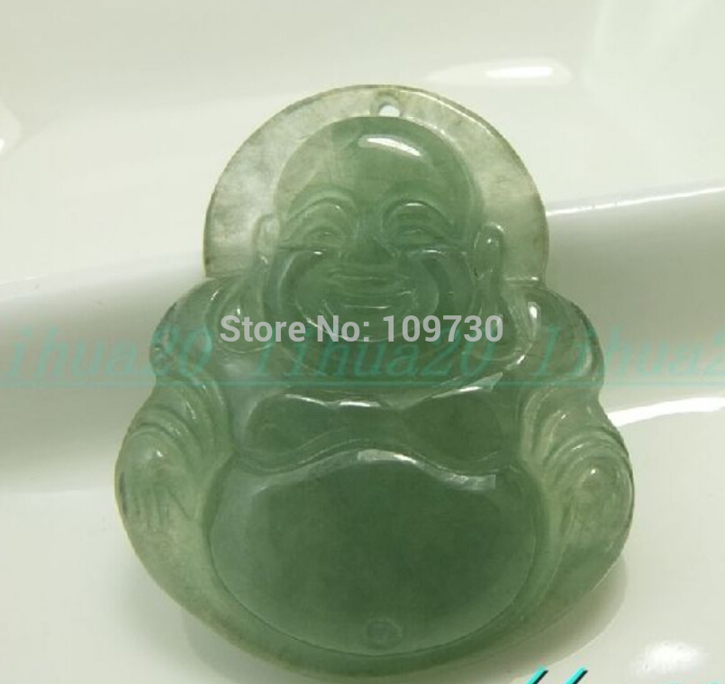 Jewelr 003067 100% Natural green jade real Hand-carved Buddha necklace bless pendant(China (Mainland))