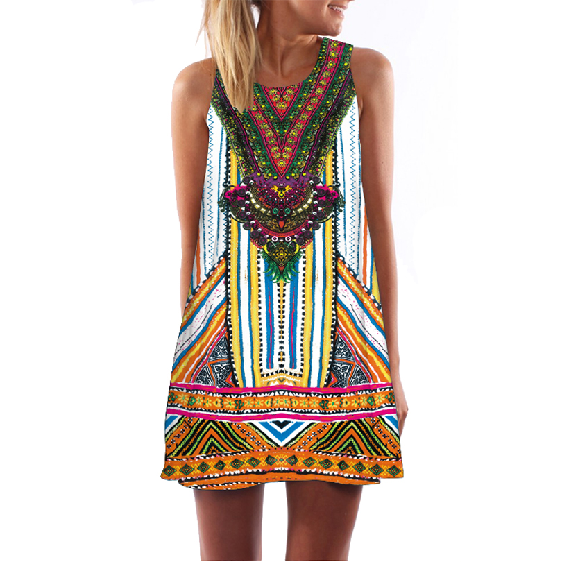 Vintage Vestidos Women Clothing Retro Tribal Print Dress Casual A-Line Dresses Fashion Vestido Round Neck Sleeveless sundress(China (Mainland))
