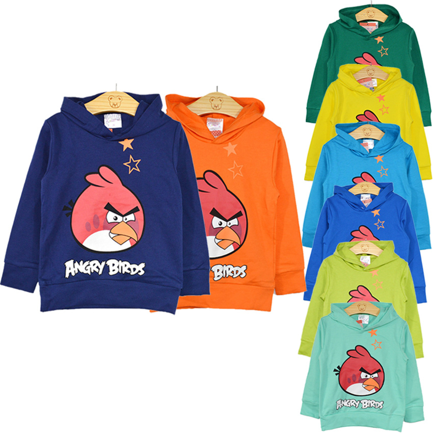 NEW 2015 outwear New Arrival Autumn Angry Birds Terry sweatshirts boys Hoodies kids children hoodies Spring style Tops & Tees