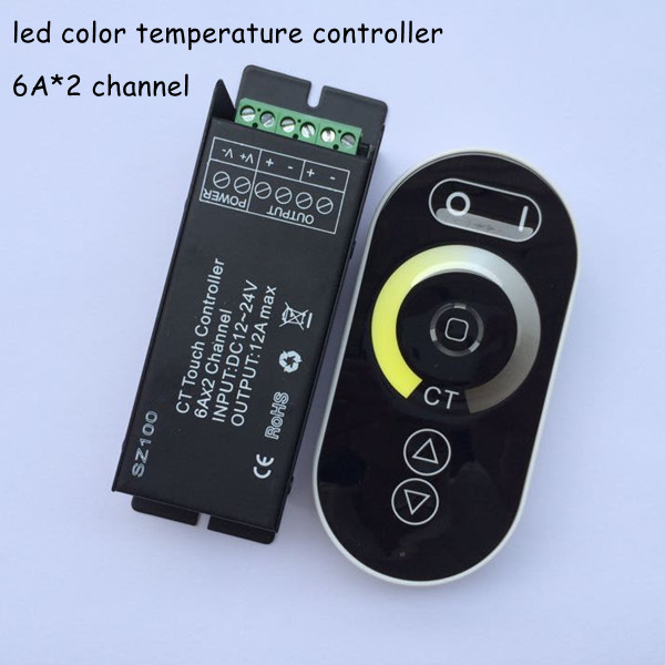 1pcs dc12v dc24v 12a 2 channel rf wireless touch screen panel dimming led color temperature (cct) remote dimmer controller(China (Mainland))