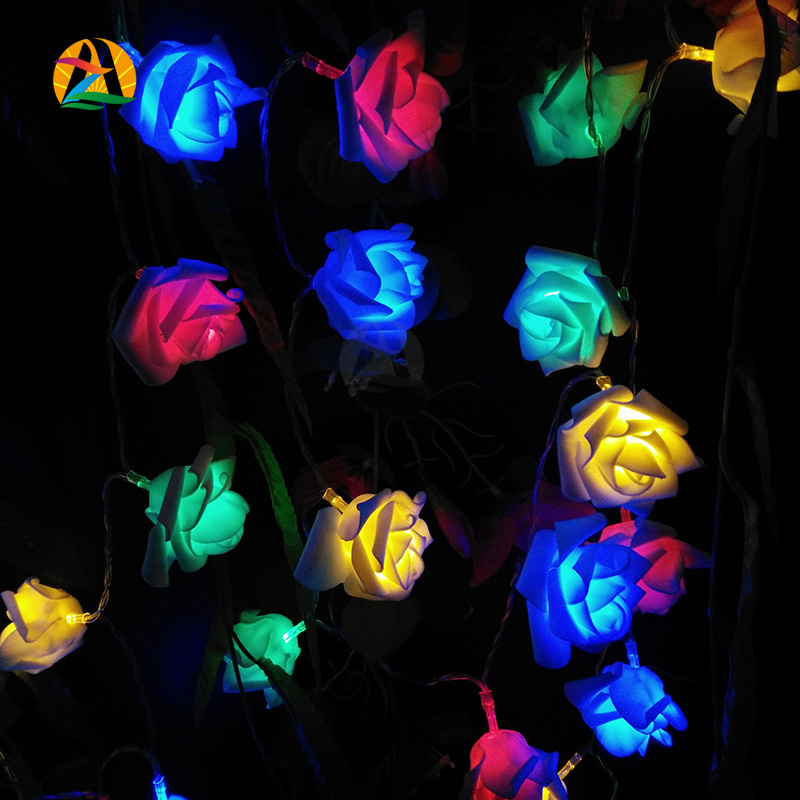 4M 40LED Rose Flower LED String Lights Battery Operated Event Christmas Wedding Birthday Party Decoration Lightings Casamento(China (Mainland))