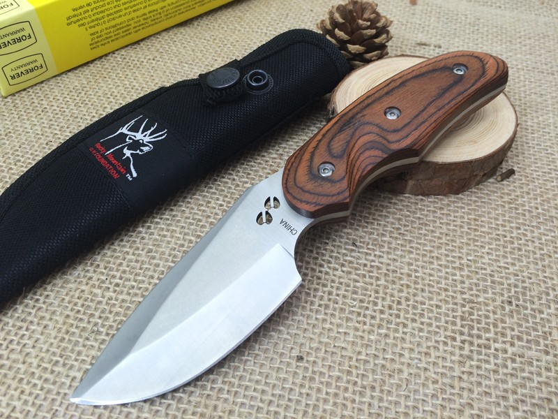 Buy 1pc 100% BUCK 076 440C Steel Color Wood Handle Camping Knife Hunting Knife Outdoor Survival Tools cheap