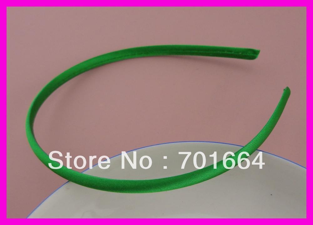 10PCS 7mm Grass Green Satin Fabric wrapped Plain Plastic Headbands for kids handmade hair accessories(China (Mainland))