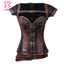Brown Brocade Overbust Full Steel Boned Sexy Corset Steampunk Clothing Gotico Corpete E Corseletes Espartilhos Korsett For Women