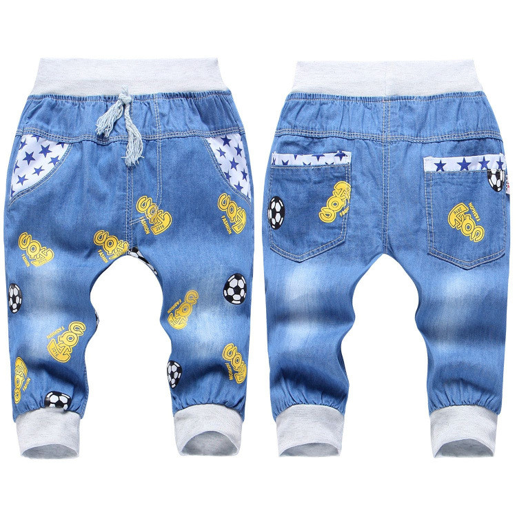 2016 New Fashion Kids Jeans Elastic Waist Straight Cartoon Jeans Denim Seventh Pants Retail Boy Jeans For Kids 2-5 Y WB141 (18)