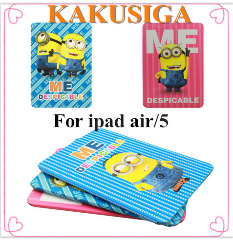 KAKUSIGA Smart Case For iPad Air Cover Stand Tablet Small yellow man painting series Cover For Apple iPad 5 ipad air Case(China (Mainland))