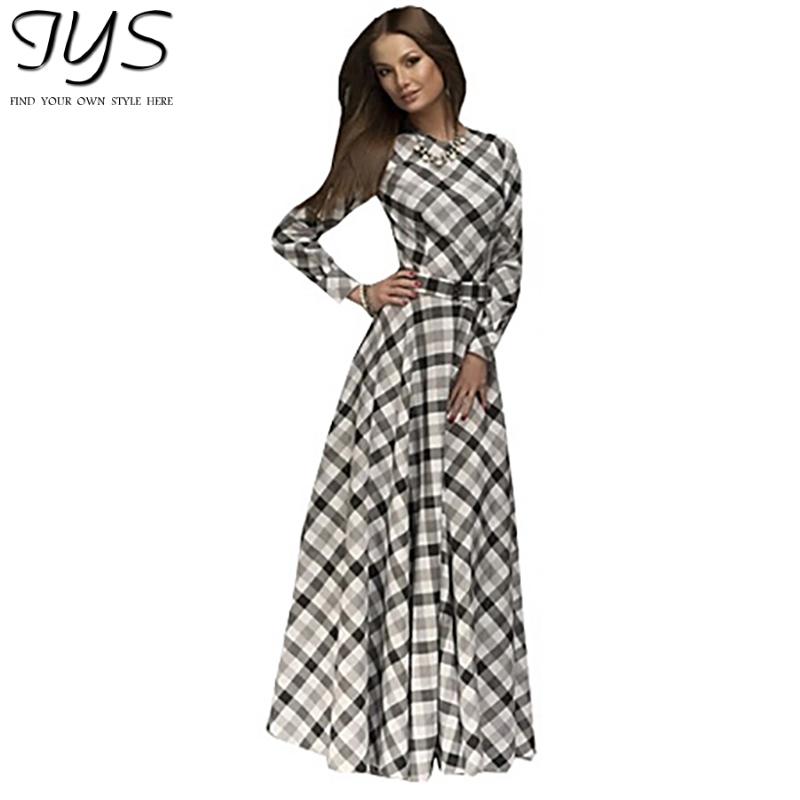 2015 new summer style long vestidos full sleeve o-neck plaid elegant party dresses women casual maxi white sexy dress plus size(China (Mainland))