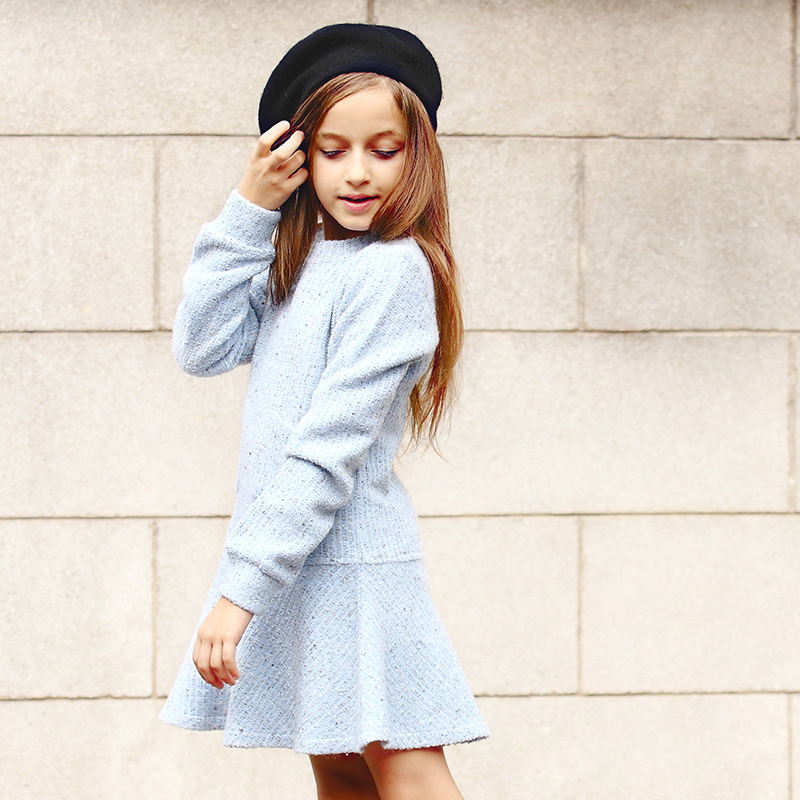 2016 Top Fashion Rushed Girl Dress Thick Kids Clothes For Winter Solid Thick Dresses Girl European Princess Style 3-18y Old(China (Mainland))