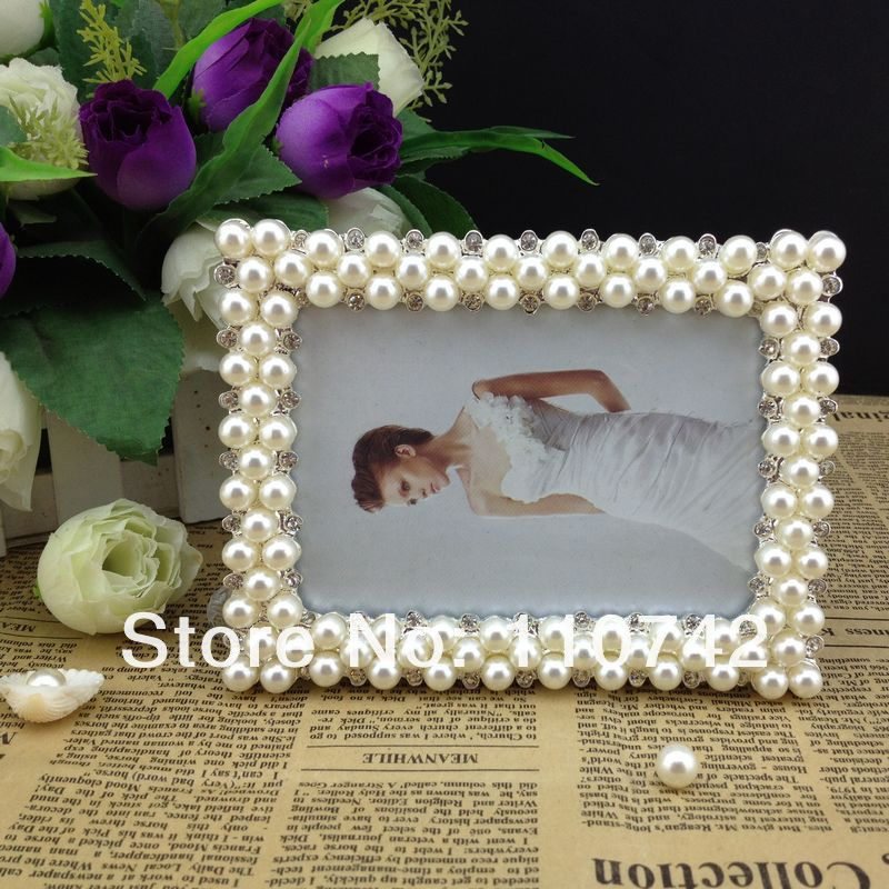 free shipping 10pcslot 3x5 inch pearldiamond zinc alloy picture frame