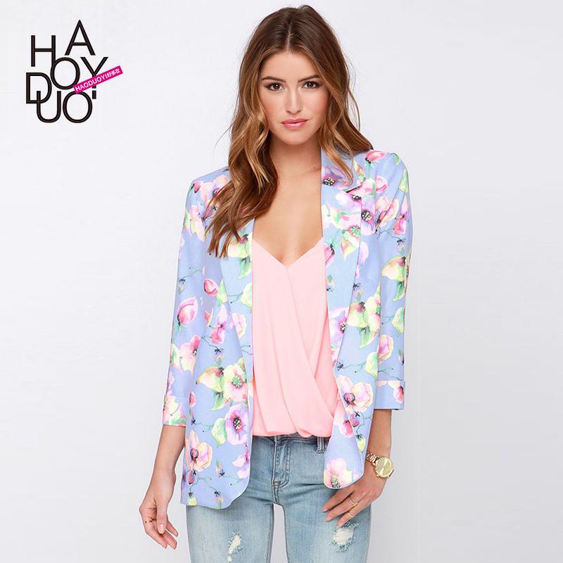 fashion OL coat flower print jacket slim women three quater sleeve coat for wholesale and free shipping haoduoyi(China (Mainland))