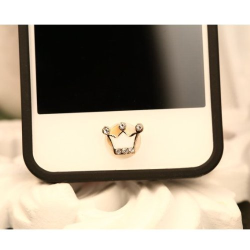 Bling Rhinestone Crytal Crown Home Button Sticker for Apple Iphone 5 5S 6 6s 7 Plus IPad IPod Luxury Mobile Phone Stickers(China (Mainland))