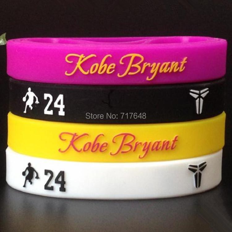 Kobe Bryant wristband silicone bracelets 3D LOGO rubber cuff wrist bands bangle free shipping(China (Mainland))